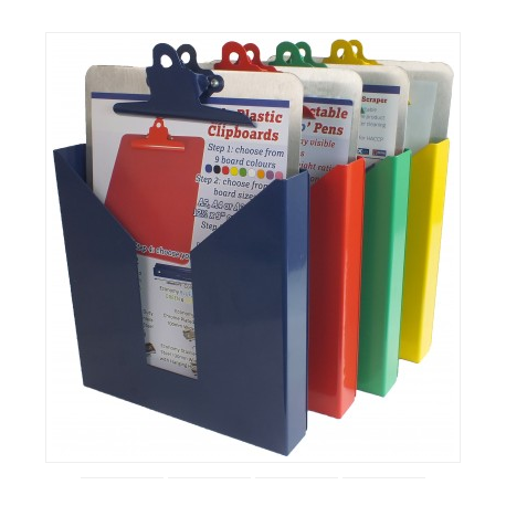 Colour Coded Stainless Steel Wall Mounted Clipboard/ File Holder